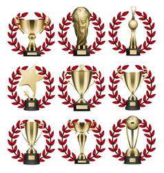 golden trophy collection in round wreaths on white vector image