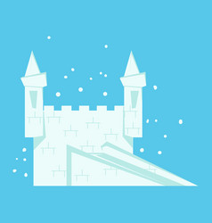 White snow castle with staircase and towers vector