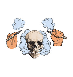 Smoke coming out of skull electronic cigarettes vector