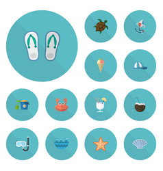 Flat icons cocos sorbet sea star and other vector