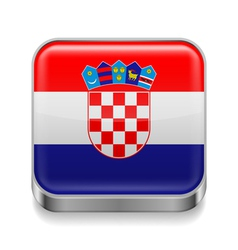Metal icon of croatia vector
