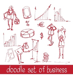 Doodle business people vector image