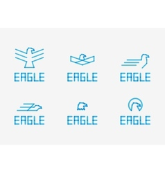 Abstract birds signs - icons set vector