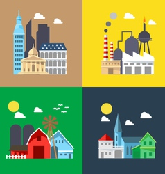 Flat design of cityscape pack vector