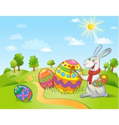 Cute easter bunny painting an egg vector