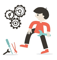 Repairing Icon with Man - Tools and Cogs vector image