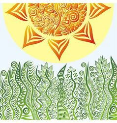 Nature pattern background with sun vector