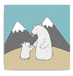 Hand drawn of two polar bears vector