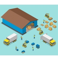 Warehouse isometric flat vector