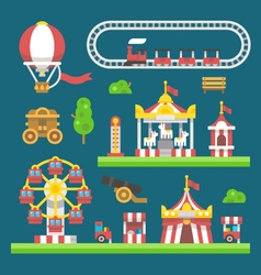 Flat design carnival amusement park vector