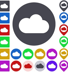 Color cloud icon set vector
