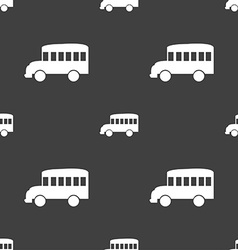 Bus icon sign seamless pattern on a gray vector
