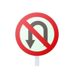 No u turn road sign icon cartoon style vector