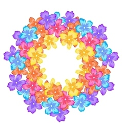 Bright frame with flowers circle vector