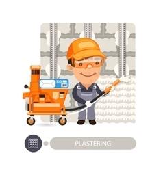 Worker Plasterimg Wall vector image