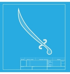 Sword sign  white section of icon on vector