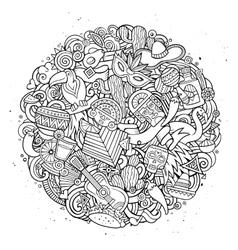 Cartoon hand drawn doodle latin american vector