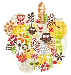 Beautiful texture with cute owls vector image vector image