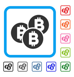 bitcoin coins framed icon vector image