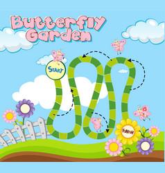 boardgame template with butterflies in garden vector image vector image