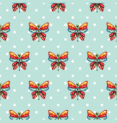 butterfly blue polka dot baby seamless vector image