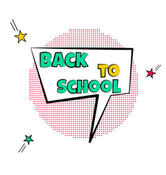 Cartoon tag expression lettering back to school vector