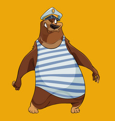 cheerful cartoon bear with the hat of a sea vector image vector image