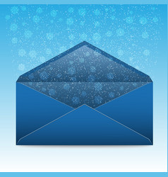 christmas blue envelope with snowflakes and vector image