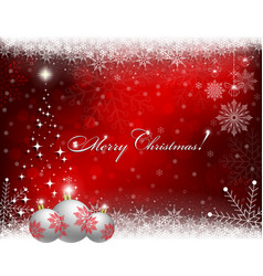 christmas red background with white balls and vector image vector image