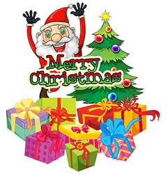 Christmas theme with santa and christmas tree vector