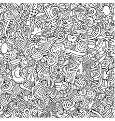 doodles hand drawn food seamless pattern vector image