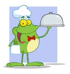 Frog Chef Serving Food In A Sliver Platter vector image