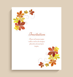 greeting card with yellow autumn leaves vector image vector image