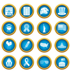 Independence day flag icons blue circle set vector
