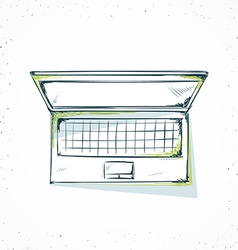 Isolated laptop handmade in sketch style vector image