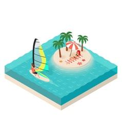 Isometric of windsurfer tropical island on the sea vector