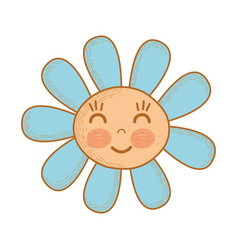 kawaii flower happy cheeks and close eyes vector image