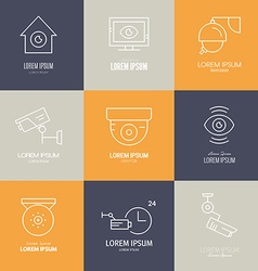 Line Icons CCTV vector image