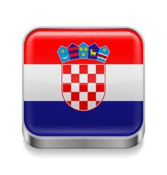 Metal icon of croatia vector