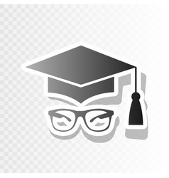 Mortar board or graduation cap with glass vector