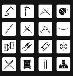 Ninja tools icons set squares vector