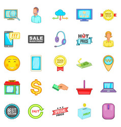 Online sale icons set cartoon style vector