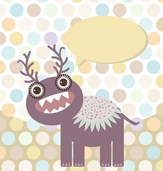 Polka dot background pattern Funny cute monster on vector image vector image