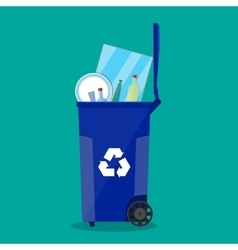 recycle bin for garbage full of glass things vector image