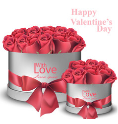red roses bouquet in gift boxes realistic vector image