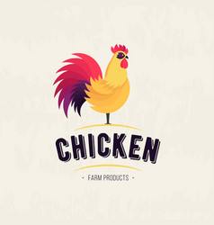 rooster icon cock poultry farm fresh sign vector image