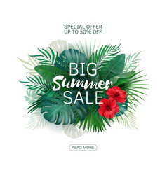 Sale banner tropical flowers leaves and plants vector