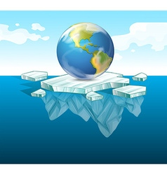 Save the earth theme with earth on ice vector