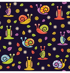 Seamless snail background vector
