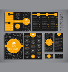 set a4 menu folding brochures and flyers narrow vector image vector image